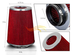 3.5 Inches 3.5 89 Mm Cold Air Intake Cone Truck Replace Filter Red Mitsubishi