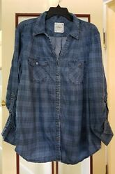 Style And Co Womens L Tunic Top Cotton Blend Denim Plaid Long Sleeves Very Nice