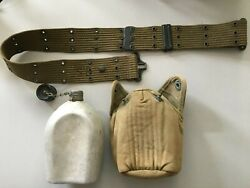 Wwii Us Armyandnbsp Canteen Cover And Web Belt- Dtd 1944
