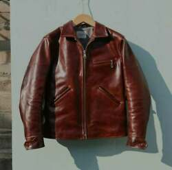 1930and039s Vintage Style Brown Cowhide Leather Veg Tanned Natural Cowhide Lth Jacket