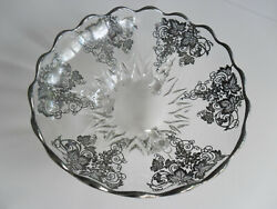 Vintage Silver Overlay Footed Bowl