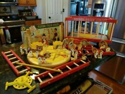 Vtg 1964 Fisher Price Circus 900 Animals Figures Accessories Wagon Pull Toy Wood