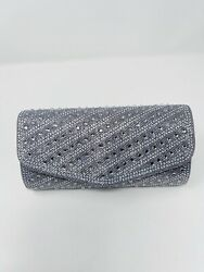 Embellished Evening Clutch Metallic Silver Bag Foldover Snap Special Occasion $13.50