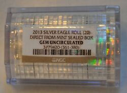 Ngc Certified 2013 American Silver Eagle Roll 20 Oz Gem Unc From Mint Sealed Box