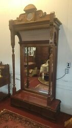 Antique Eastlake Victorian Carved Walnut Hall Pier Mirror 1900's Hooded Top H97