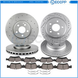 F And R Drill Slot Brake Disc Rotors Ceramic Pads For 2007-2009 Mercedes-benz E350