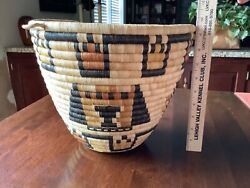 Large Vintage Hopi Coiled Basket - Crow Mother And Another Kachina