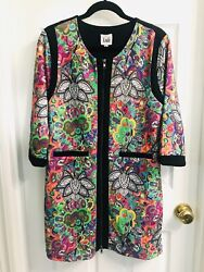 New With Tags Luii Size M Medium Multicolor Zip Front Jacket Coat Dress Tunic