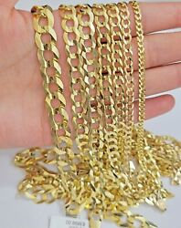 Solid 14k Yellow Gold Necklace Bracelet 3mm-10mm Curb Chain Cuban Link 7- 30
