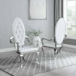 Kitchen Dining Room Chair White Faux Leather Velvet Steel Assembled Set Of Two