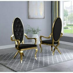 Kitchen Dining Room Chair Black Faux Leather Gold Steel Assembled Set Of Two