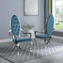 Kitchen Dining Room Chair Teal Faux Leather Stainless Steel Assembled Set Of Two