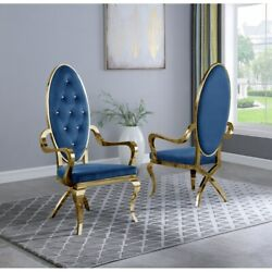 Kitchen Dining Room Chair Blue Faux Leather Gold Steel Assembled Set Of Two
