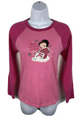 Vintage Y2k 2006 Betty Boop Pink Shirt Christmas Holiday Womans Small Soft Bling