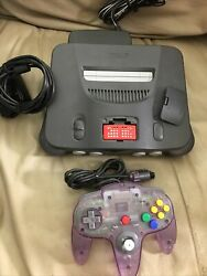 Nintendo 64 N64 Console Red Expansion Pack And 1 Atomic Purple Controller