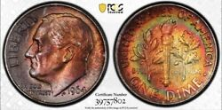 1964d Silver Roosevelt Dime 2 Sided Monster Rainbow Toned Pcgs Ms64 True View Qa
