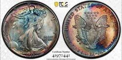1986 American Silver Eagle Pcgs Ms67 Blue And Red Toned 2sided 1 Ase Qa True View