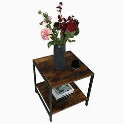 2 Tier Wooden Small Square End Coffeeandtea Table For Home Living Room And Office
