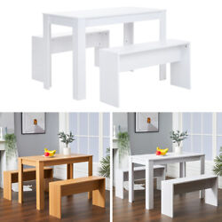 3pcs Compact Furniture Set Wooden Dining Table And 2 Benches Dining Room Kitchen