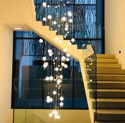 Crystal Ball Chandelier Light Bubble Glass Ball Pendant Lamp Long Hanging Stairs