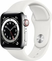 Apple Watch Series 6 Cellular Silver Stainless 44mm White Sport - New And Sealed