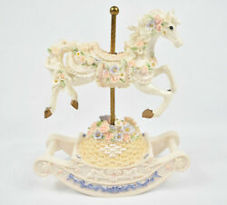 Vtg Carousel Horse Music Box With Rocking Movement - Plays Blue Danube Waltz