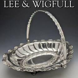1895 British Antiques Made Of Sterling Silver Movable Handle Fruit Basket 617g