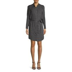 Nwt Joie Myune Printed Belted Button-front Mini Shirt Dress In Caviar Size M