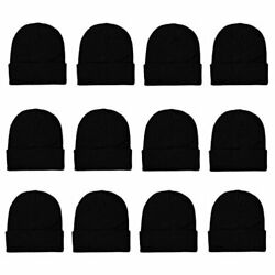 Gelante Unisex Beanie Cap Knitted Warm Solid Color And Multi-color Black Size