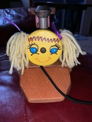 Vintage Lil Gal Rr Wooden Pull Toy Girl Train With Yarn Hair Keen Toys