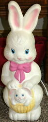 Vintage Easter Bunny Rabbit With Basket Light Up Blow Mold Empire 1995