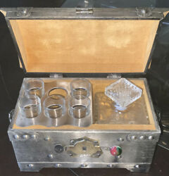 Vintage Tantalus Treasure Chest Box Glass Decanter 5 Shot Glasses Made In Japan