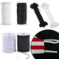 Elastic Round Flat Band Cord White Black Face Coverings Mask Sew Clothes Ppe