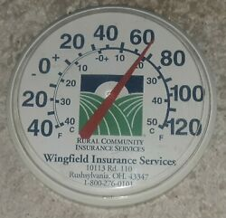 Old Rural Community Insurance Services 12 Thermometer Ohio Farm Advertising Vtg
