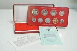 1981 Malta Proof Set - 9 Coin Sealed Proof With Box - Key Year