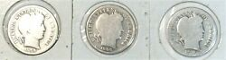 U.s.a 3coins Barber Dimes 1906 Vg,1908 Good And 1916 Vg 0.9000 Silver