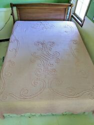 """Vintage Pink Patterned Chenille Bedspread 49.5"""" X 99"""" Lightweight Cutter Fabric"""