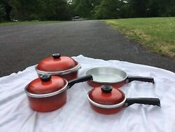 Vintage Club 7 Piece Aluminum Poppy Red Set - 3 Pots With Lids And Skillet Pan