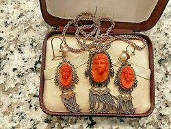Victorian Carved Coral Cameo Earrings And Necklace 14k Tassels And Pearls Bin