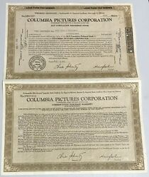 1946 Columbia Pictures Corp. 2 Attached Stock Certificates Harry Cohn Brown