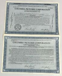 1946 Columbia Pictures Corporation 2 Attached Stock Certificates Harry Cohn Blue