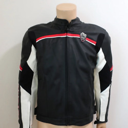 Ducati Old Times Meccanica Leather Motorcycle Jacket Black Size 52