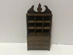 Vintage Miniature Dollhouse 112 Wood Kitchen Dining Hutch With Drawers