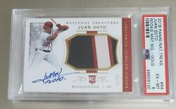 2018 National Treasures Juan Soto 3 Color Patch On Card Auto Gold 06/49 Psa 6