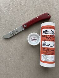 Gec 71 Bullnose Red Linen Micarta Farm And Field Great Eastern Cutlery 715121