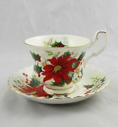 Royal Albert Poinsettia Yuletide Cup And Saucer Multiple Available Excellent