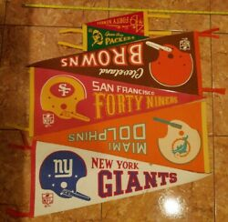 Nfl 1967 Football Pennant One Bar Full Size 30 Vintage Lot 1960s Dolphins 49ers