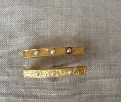 Antique Pair Of 14k Yg + Seed Pearl Engraved Lingerie Bar Pins Brooches 3.64g