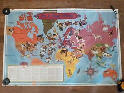 Vintage Purina Ralston It's A Dog's World Map Advertising Poster