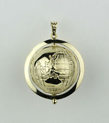 Solid 14k Yellow Gold Large Spinning Globe Pendant